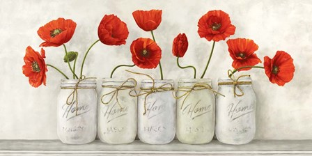 Red Poppies in Mason Jars by Jenny Thomlinson art print