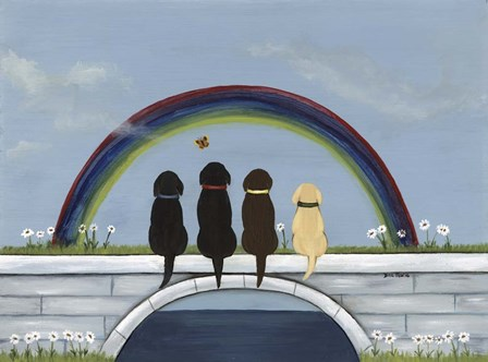 Rainbow Bridge Dogs by Dina Marie art print