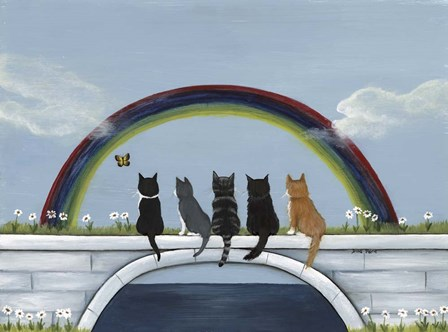 Rainbow Bridge Kitties by Dina Marie art print