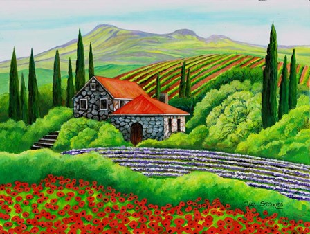 Tuscany Poppies by Val Stokes art print