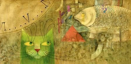 The Cat And The Fish by Lana Korolievskaia art print