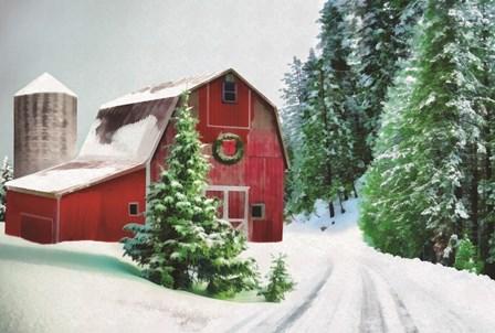 Winter Pines Red Barn by Dogwood Portfolio art print