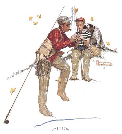 Trout Dinner by Norman Rockwell art print