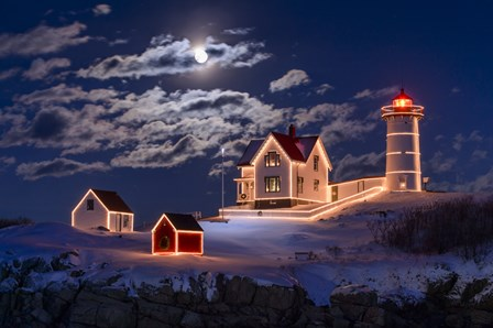 Moon Over Nubble by Michael Blanchette Photography art print