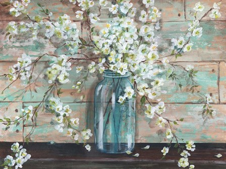 Blossoms in Mason Jar by Tre Sorelle Studios art print