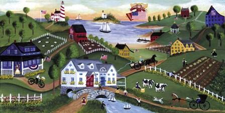 American Folk Art Seadise With Angel by Cheryl Bartley art print